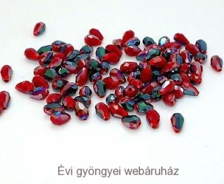 Cseh drop gyöngy - red jade2 3mmx5mm