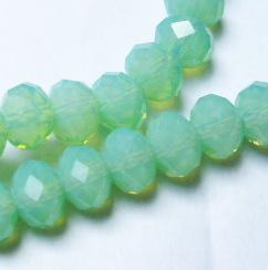 Donut/fánk gyöngy 6mmx8mm - green opal